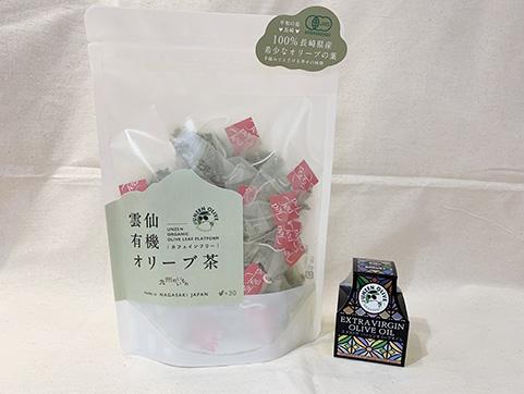 【九州のいいもの】雲仙「ナチュラルファーミング」雲仙有機オリーブ茶(ティーバッグ60g)・エクストラバージンオイル(25g)セット