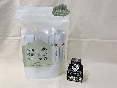 【九州のいいもの】雲仙「ナチュラルファーミング」雲仙有機オリーブ茶(粉末30g)・エクストラバージンオイル(25g)セット